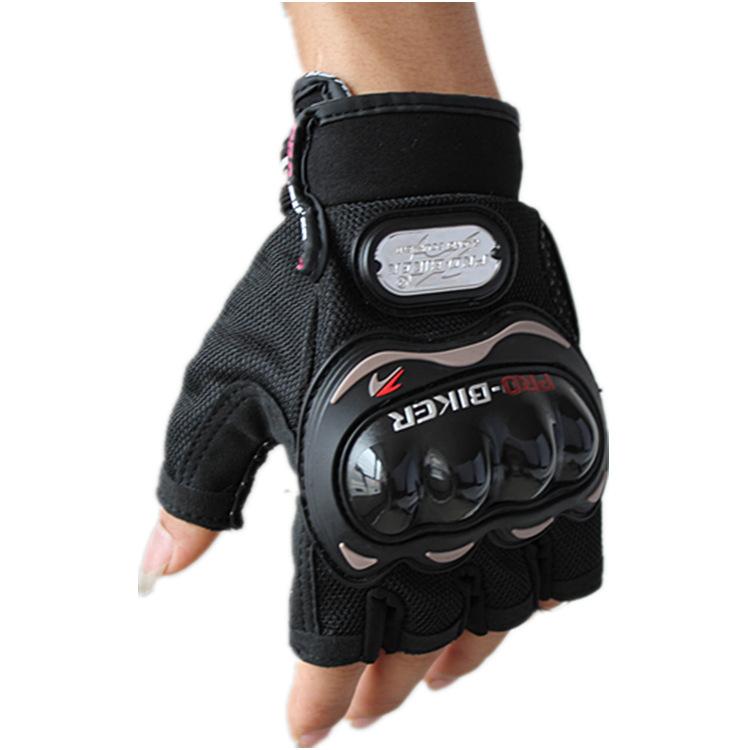 ถุงมือขี่มอเตอร์ไซค์ครึ่งนิ้ว Pro-Biker-สีดำ