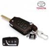 ซองหนังแท้ ใส่กุญแจรีโมทรถยนต์ รุ่นถอดสวมได้ Toyota Hilux Revo,New Altis พับข้าง 3 ปุ่ม สีดำ