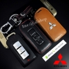 ซองหนังแท้ ใส่กุญแจรีโมทรถยนต์ รุ่นโลโก้เหล็ก Mitsubishi Mirage,Triton,Pajero Smart Key 2 ปุ่ม