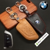 ซองหนังแท้ ใส่กุญแจรีโมทรถยนต์ รุ่นโลโก้เหล็ก Bmw X1,X5 Smart Key