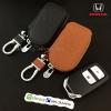กระเป๋าซองหนังแท้ ใส่กุญแจรีโมทรถยนต์ รุ่นซิบรอบ HONDA HR-V,CR-V,BR-V,JAZZ Smart Key 2 ปุ่ม