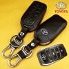 ซองหนังแท้ใส่กุญแจรีโมทรถยนต์ All New Toyota Fortuner/Camry Hybrid 2015-17 รุ่น 4 ปุ่ม โลโก้-เงิน