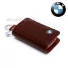 กระเป๋าซองหนังแท้ ใส่กุญแจรีโมทรถยนต์ หนังบราซิล โลโก้-เงิน BMW รุ่นซิบรอบ