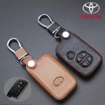 ซองหนังแท้ ใส่กุญแจรีโมทรถยนต์ รุ่นหนังนิ่ม Toyota Prius,Camry Hybrid รุ่น 3 ปุ่มกด