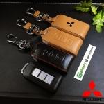 ซองหนังแท้ ใส่กุญแจรีโมทรถยนต์ Mitsubishi Mirage,Attrage,Triton,Pajero Smart Key 2,3 ปุ่ม โลโก้ป้ายเงิน
