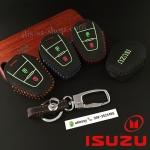 ซองหนังแท้ ใส่กุญแจรีโมทรถยนต์ รุ่นดอกแจด้ายสีเรืองแสง SUZU D-Max X-Series