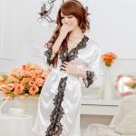 เซ็กซี่ชุดชั้นในลูกไม้ Robe ชุดนอน Nightgown + G-String สีขาว