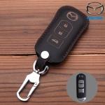 ซองหนังแท้ ใส่กุญแจรีโมทรถยนต์ รุ่นหนังนิ่ม Mazda 2,3 Smart Key 3 ปุ่ม สี ดำ/ด้ายแดง