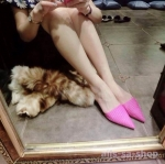รองเท้า ส้นแบนหัวแหลม แบบใหม่ สีชมพู ไซส์ 36 - 39