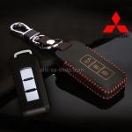 ซองหนังแท้ ใส่กุญแจรีโมทรถยนต์ รุ่นด้ายสี-หนังนิ่ม Mitsubishi Mirage,Attrage,Triton,Pajero