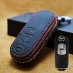 กระเป๋าซองหนัง ใส่กุญแจรีโมทรถยนต์ รุ่นซิบรอบ Mazda 2,3/CX-3,5 Smart Key 2 ปุ่ม สีดำ