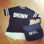 กระเป๋าถุงผ้าถือ สะพายใหล่ สไตล์เกาหลี แบบน่ารักๆ LOGO MHL สี ดำ - ขาว