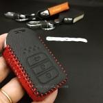 ซองหนังแท้ ใส่กุญแจรีโมทรถยนต์ รุ่นด้ายสีทรูโทน Honda Accord All New City 2014-15 Smart Key 3 ปุ่ม