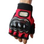 ถุงมือขี่มอเตอร์ไซค์ครึ่งนิ้ว Pro-Biker-สีแดง