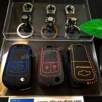 ซองหนังแท้ ใส่กุญแจรีโมท รุ่นด้ายสี พิมพ์โลโก้ Chevrolet Captiva,โคโรลาโด พับข้าง รุ่น 2 ปุ่ม