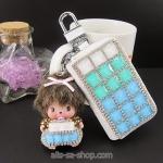 กระเป๋าซองหนังใส่ กุญแจรถยนต์ ประดับคริสตัล DIY หลากสี (กระเป๋า-ไม่รวมตุ๊กตา)