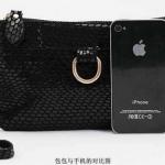 กระแฟชั่นกระเป๋าสไตล์เกาหลีมินนิ หนังแท้ ลายกราฟฟิก สีดำ