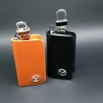 กระเป๋าซองหนังแท้ ใส่กุญแจรีโมทรถยนต์ โลโก้ Mazda สี ดำ,น้ำตาล
