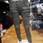 กางเกงยีนส์การ์ด Rock Biker สีครีม