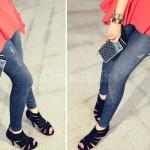 กางเกงผู้หญิง jeggings Leggings Tights สี ฟ้ายืน ฟรีไซร์