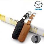 ซองหนังแท้ ใส่กุญแจรีโมทรถยนต์ Mazda 2,3 Smart Key 3 ปุ่ม