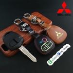 ซองหนังแท้ ใส่กุญแจรีโมทรถยนต์ รุ่นเรืองแสง Mitsubishi สปซวากอน แบบดอกกุญแจ