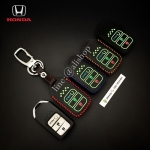 ซองหนังแท้ ใส่กุญแจรีโมทรถยนต์ รุ่นด้ายสีเรืองแสง Honda Civic Hatchback 2017 Smart Key 3 ปุ่ม