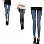 กางเกง jeggings ผ้ายืดลายยืน Leggings Tights สีดำ ฟรีไซร์