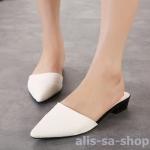 รองเท้าส้นแบนส้นเตี้ยแฟชั่น หัวแหลม สีขาว ไซส์ 37
