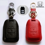 ซองหนังแท้ ใส่กุญแจรีโมทรถยนต์ หนังนิ่ม HONDA HR-V,CR-V,BR-V,JAZZ Smart Key 2 ปุ่ม