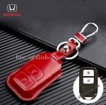ซองหนังแท้ ใส่กุญแจรีโมทรถยนต์ หนัง เงา-ด้าน HONDA HR-V,CR-V,BR-V,JAZZ Smart Key 2 ปุ่ม