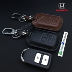 ซองหนังแท้ ใส่กุญแจรีโมทรถยนต์ รุ่นหนังนิ่ม HONDA HR-V,CR-V,BR-V,JAZZ Smart Key 2 ปุ่ม