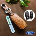 ซองหนังแท้ ใส่กุญแจรีโมทรถยนต์ All New Ford Ranger,Everest 2015-18 โลโก้ป้ายเงิน พับข้าง สีน้ำตาล
