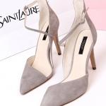 รองเท้า ZARA ส้นสูง หัวแหลม แบบใหม่ สไตส์เกาหลี สีเทาอ่อน (Pre)