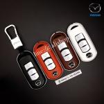 กรอบ-เคสหนัง ใส่กุญแจรีโมทรถยนต์ Mazda 2,3/CX-5 2018 Smart Key 3 ปุ่ม
