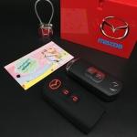 ปลอกซิลิโคน หุ้มกุญแจรีโมทรถยนต์ Mazda 2,3/CX-3,5 Smart Key 2 ปุ่ม สี ดำ/แดง