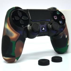 Thicker Half Skin Cover ซิลิโคนเคสแบบหนา สีเขียวลายพราง สำหรับจอย PS4 แถมฟรี ซิลิโคนครอบปุ่มอนาล็อก 2 ชิ้น