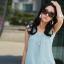มินิเดรสสั้น ผ้าชีฟอง สีขาว สีดำ และ สีฟ้า ไซร์ S thumbnail 6